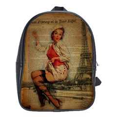 Vintage Newspaper Print Pin Up Girl Paris Eiffel Tower Funny Vintage Retro Nurse  School Bag (XL)
