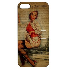 Vintage Newspaper Print Pin Up Girl Paris Eiffel Tower Funny Vintage Retro Nurse  Apple Iphone 5 Hardshell Case With Stand