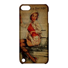 Vintage Newspaper Print Pin Up Girl Paris Eiffel Tower Funny Vintage Retro Nurse  Apple Ipod Touch 5 Hardshell Case With Stand
