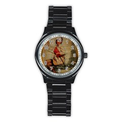 Vintage Newspaper Print Pin Up Girl Paris Eiffel Tower Funny Vintage Retro Nurse  Sport Metal Watch (black)
