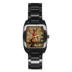 Vintage Newspaper Print Pin Up Girl Paris Eiffel Tower Funny Vintage Retro Nurse  Men s Stainless Steel Barrel Analog Watch