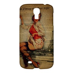 Vintage Newspaper Print Pin Up Girl Paris Eiffel Tower Funny Vintage Retro Nurse  Samsung Galaxy S4 I9500/i9505 Hardshell Case