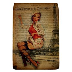 Vintage Newspaper Print Pin Up Girl Paris Eiffel Tower Funny Vintage Retro Nurse  Removable Flap Cover (large)