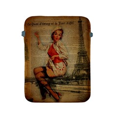 Vintage Newspaper Print Pin Up Girl Paris Eiffel Tower Funny Vintage Retro Nurse  Apple Ipad 2/3/4 Protective Soft Case