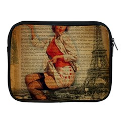 Vintage Newspaper Print Pin Up Girl Paris Eiffel Tower Funny Vintage Retro Nurse  Apple iPad 2/3/4 Zipper Case