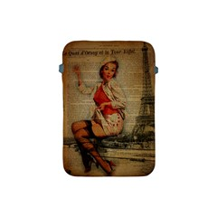 Vintage Newspaper Print Pin Up Girl Paris Eiffel Tower Funny Vintage Retro Nurse  Apple Ipad Mini Protective Soft Case