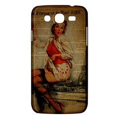 Vintage Newspaper Print Pin Up Girl Paris Eiffel Tower Funny Vintage Retro Nurse  Samsung Galaxy Mega 5 8 I9152 Hardshell Case