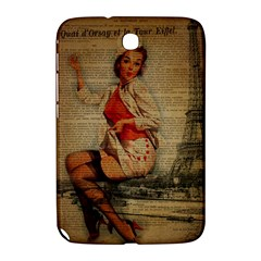 Vintage Newspaper Print Pin Up Girl Paris Eiffel Tower Funny Vintage Retro Nurse  Samsung Galaxy Note 8.0 N5100 Hardshell Case