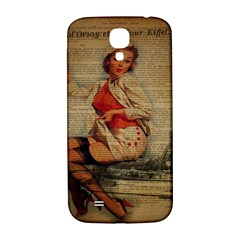 Vintage Newspaper Print Pin Up Girl Paris Eiffel Tower Funny Vintage Retro Nurse  Samsung Galaxy S4 I9500/I9505  Hardshell Back Case