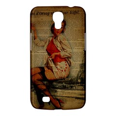 Vintage Newspaper Print Pin Up Girl Paris Eiffel Tower Funny Vintage Retro Nurse  Samsung Galaxy Mega 6 3  I9200