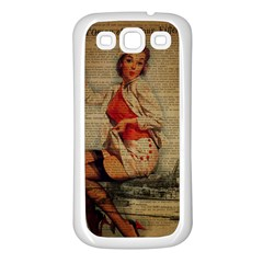 Vintage Newspaper Print Pin Up Girl Paris Eiffel Tower Funny Vintage Retro Nurse  Samsung Galaxy S3 Back Case (White)