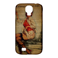 Vintage Newspaper Print Pin Up Girl Paris Eiffel Tower Funny Vintage Retro Nurse  Samsung Galaxy S4 Classic Hardshell Case (PC+Silicone)