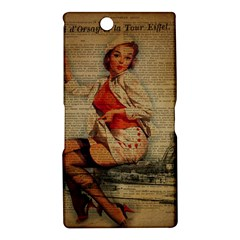 Vintage Newspaper Print Pin Up Girl Paris Eiffel Tower Funny Vintage Retro Nurse  Sony Xperia XL39h (Xperia Z Ultra) Hardshell Case