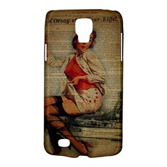 Vintage Newspaper Print Pin Up Girl Paris Eiffel Tower Funny Vintage Retro Nurse  Samsung Galaxy S4 Active (I9295) Hardshell Case