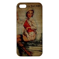 Vintage Newspaper Print Pin Up Girl Paris Eiffel Tower Funny Vintage Retro Nurse  iPhone 5S Premium Hardshell Case