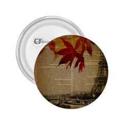 Elegant Fall Autumn Leaves Vintage Paris Eiffel Tower Landscape 2 25  Button