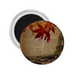 Elegant Fall Autumn Leaves Vintage Paris Eiffel Tower Landscape 2.25  Button Magnet