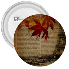 Elegant Fall Autumn Leaves Vintage Paris Eiffel Tower Landscape 3  Button