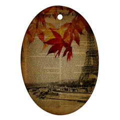 Elegant Fall Autumn Leaves Vintage Paris Eiffel Tower Landscape Oval Ornament