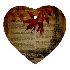 Elegant Fall Autumn Leaves Vintage Paris Eiffel Tower Landscape Heart Ornament