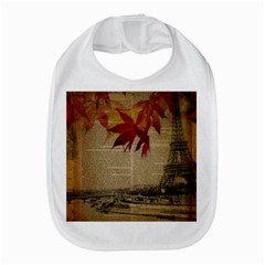 Elegant Fall Autumn Leaves Vintage Paris Eiffel Tower Landscape Bib