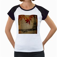 Elegant Fall Autumn Leaves Vintage Paris Eiffel Tower Landscape Women s Cap Sleeve T-Shirt (White)