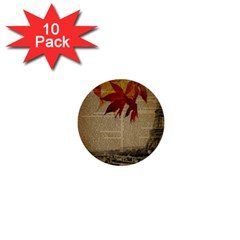 Elegant Fall Autumn Leaves Vintage Paris Eiffel Tower Landscape 1  Mini Button (10 Pack)