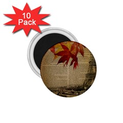 Elegant Fall Autumn Leaves Vintage Paris Eiffel Tower Landscape 1.75  Button Magnet (10 pack)