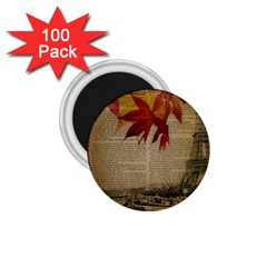 Elegant Fall Autumn Leaves Vintage Paris Eiffel Tower Landscape 1.75  Button Magnet (100 pack)