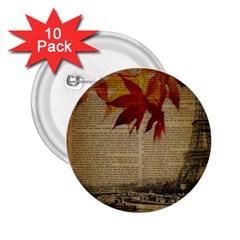Elegant Fall Autumn Leaves Vintage Paris Eiffel Tower Landscape 2 25  Button (10 Pack)