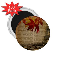 Elegant Fall Autumn Leaves Vintage Paris Eiffel Tower Landscape 2.25  Button Magnet (100 pack)