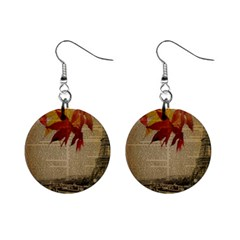 Elegant Fall Autumn Leaves Vintage Paris Eiffel Tower Landscape Mini Button Earrings