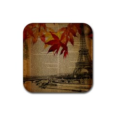 Elegant Fall Autumn Leaves Vintage Paris Eiffel Tower Landscape Drink Coaster (square)