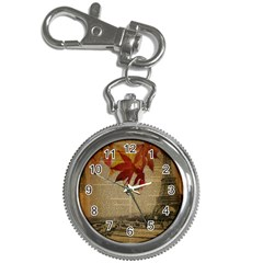 Elegant Fall Autumn Leaves Vintage Paris Eiffel Tower Landscape Key Chain & Watch