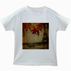 Elegant Fall Autumn Leaves Vintage Paris Eiffel Tower Landscape Kids' T Shirt (white)