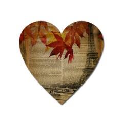 Elegant Fall Autumn Leaves Vintage Paris Eiffel Tower Landscape Magnet (Heart)