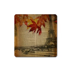 Elegant Fall Autumn Leaves Vintage Paris Eiffel Tower Landscape Magnet (Square)