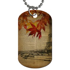 Elegant Fall Autumn Leaves Vintage Paris Eiffel Tower Landscape Dog Tag (two Sided)