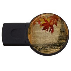 Elegant Fall Autumn Leaves Vintage Paris Eiffel Tower Landscape 1GB USB Flash Drive (Round)