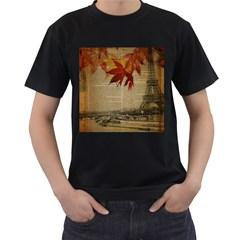Elegant Fall Autumn Leaves Vintage Paris Eiffel Tower Landscape Mens' Two Sided T Shirt (black)
