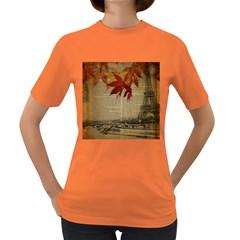 Elegant Fall Autumn Leaves Vintage Paris Eiffel Tower Landscape Womens' T-shirt (Colored)
