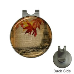Elegant Fall Autumn Leaves Vintage Paris Eiffel Tower Landscape Hat Clip with Golf Ball Marker