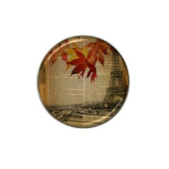 Elegant Fall Autumn Leaves Vintage Paris Eiffel Tower Landscape Golf Ball Marker 4 Pack (for Hat Clip)
