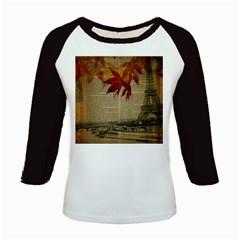 Elegant Fall Autumn Leaves Vintage Paris Eiffel Tower Landscape Women s Long Cap Sleeve T-Shirt