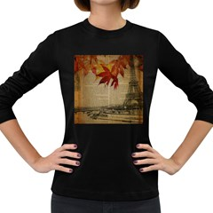 Elegant Fall Autumn Leaves Vintage Paris Eiffel Tower Landscape Womens' Long Sleeve T-shirt (Dark Colored)