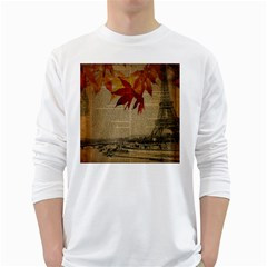 Elegant Fall Autumn Leaves Vintage Paris Eiffel Tower Landscape Mens' Long Sleeve T-shirt (White)