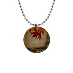 Elegant Fall Autumn Leaves Vintage Paris Eiffel Tower Landscape Button Necklace