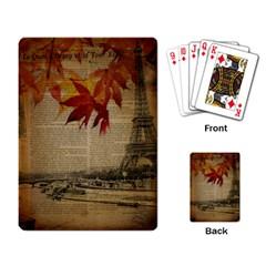 Elegant Fall Autumn Leaves Vintage Paris Eiffel Tower Landscape Playing Cards Single Design