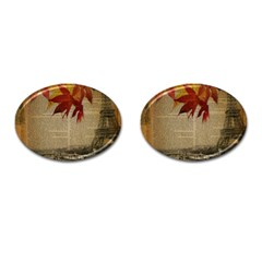Elegant Fall Autumn Leaves Vintage Paris Eiffel Tower Landscape Cufflinks (Oval)