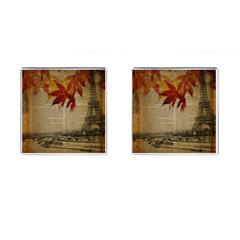 Elegant Fall Autumn Leaves Vintage Paris Eiffel Tower Landscape Cufflinks (Square)
